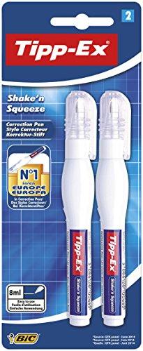 Tipp-Ex Korrekturstift Shake´n Squeeze, mit Metallspitze, 8 ml, Blister à 2 Stück, weiß