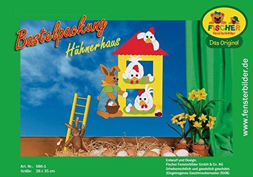 Preisvergleich Produktbild Fischer Fensterbild HÜHNERHAUS / Bastelpackung / ca. 28x35 cm / zum Selberbasteln / Basteln mit Papier und Pappe zu Ostern