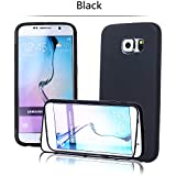 tinxi® Silicone Flip Case Cover for Samsung Galaxy S6, Silicon Case Cover Flip Case, Black