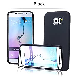 tinxi® Silikon Flipcase Schutzhülle für Samsung Galaxy S6 Hülle Tasche Schutz Hülle Silicon Case Cover Flip Etui in schwarz