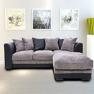 Beshomethings Chenille Fabric 3 Seater Sofa Corner Group Settee Couch With Faux Leather Arm,Left or Right Hand