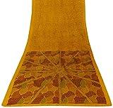 Vintage Indian 100% Reine Seide Saree Gelb Gedruckt Ethnic