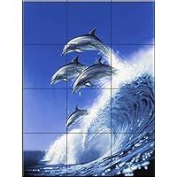 Ceramic Tile Mural - Out of the Blue - by Robin Koni - Kitchen splashback / Bathroom shower