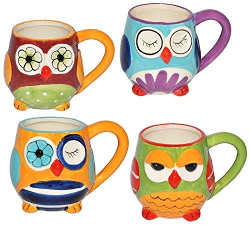 Unbekannt 4 STK. Henkeltassen / Kaffeebecher - mit Eulen - groß - Keramik Trinktasse mit Henkel - Trinktassen / Kaffeepott / Kaffeetassen / Teetassen - Eulenmotiv Tasse..
