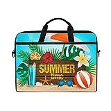 Ahomy 14 Zoll Laptop-Tasche, Tropische Sommerpflanzen Blumen Sonnenschutz Segeltuch Stoff Laptop Tasche Bussiness Handtasche mit Schultergurt für Damen und Herren