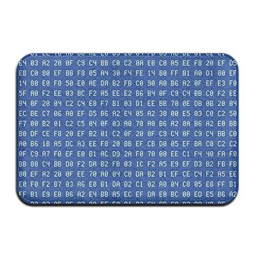 Fußmatte Indoor-Fußmatte Programmierer Computer Code Blau Haustürmatten Teppich Personalisierte Matte für Badezimmer Küche Schlafzimmer Eingangsbereich Fußmatten, rutschfeste Gummi, 15,7