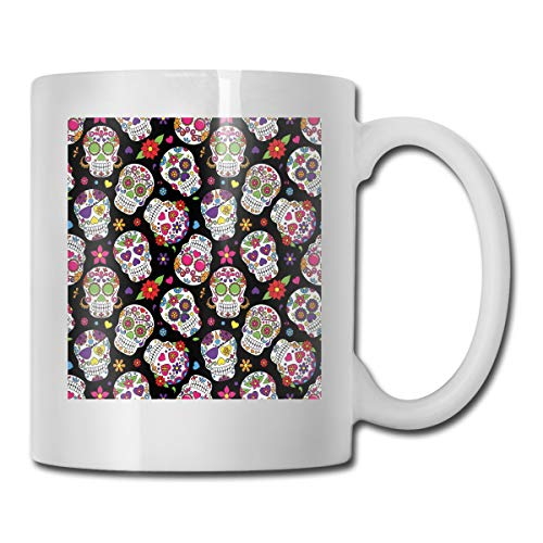 Jolly2T Funny Ceramic Novelty Coffee Mug 11oz,Festive Graveyard Mexico Ritual Figures Mask Design On Black Backdrop,Unisex Who Tea Mugs Coffee Cups,Suitable for Office and Home