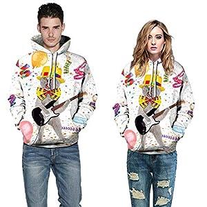 TWBB Herren Damen Paar Mantel,Weihnachten 3D Drucken Hoodie Kapuzen Kapuzenpullover Outwear Oberteile Mit Tasche