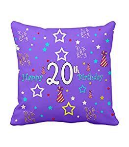 TIED RIBBONS 20th Birthday Gift Printed Cushion(12 inch X 12 inch,Multicolor,Satin)