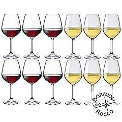 Idea Regalo - Collezione DIVINO Bormioli Rocco - Set 12 Calici Vino - N° 6 Divino Rosso 53 cl + N° 6 Divino Bianco 44 cl Eleganza a Tavola