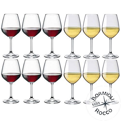 Kollektion DIVINO Bormioli Rocco ? Set aus 12 Weingläser ? N° 6 Divino Rot 53 cl + N° 6 Divine Weiß 44 cl Eleganza auf Tisch