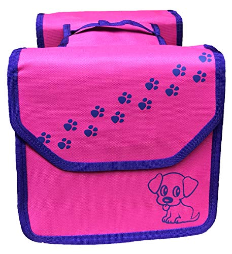 NTA Kinder-Fahrradtasche Gepäckträgertasche Doppelpacktasche im Hunde-Design, rosa/lila