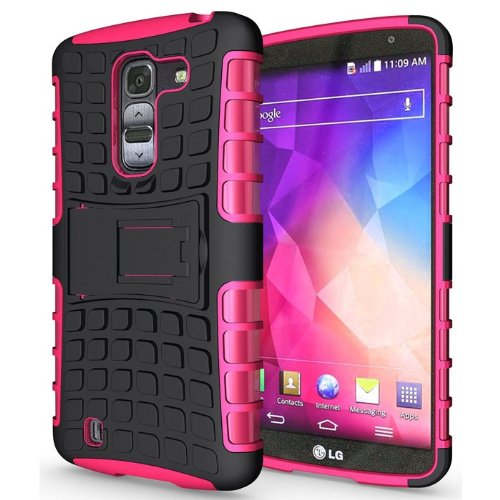 Heartly Flip Kick Stand Hard Dual Armor Hybrid Bumper Back Case Cover For LG G Pro 2 - Pink  available at amazon for Rs.399