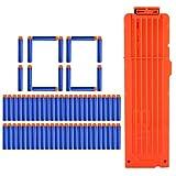 YAKOK 18er Magazin Clip + 100 Stück Pfeile Patronen Darts für Nerf Modulus Regulator/N-Strike Elite/Stryfe/Retaliator/Zombie/Rebelle/Rapidstrike/Raptorstrike (Blau,Orange)