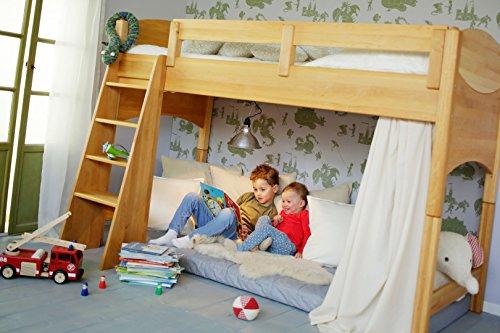 BioKinder 22731 Noah Spar-Set Kinder-Hochbett aus Massivholz Erle 120 cm (Erle-set Bett)