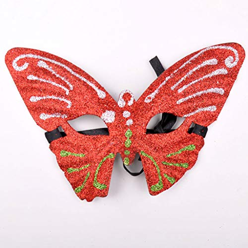 Pailletten Maske Make-up Maske Verbindung Schmetterling Maske Glitter Fashion Maske (Farbe : Red) ()