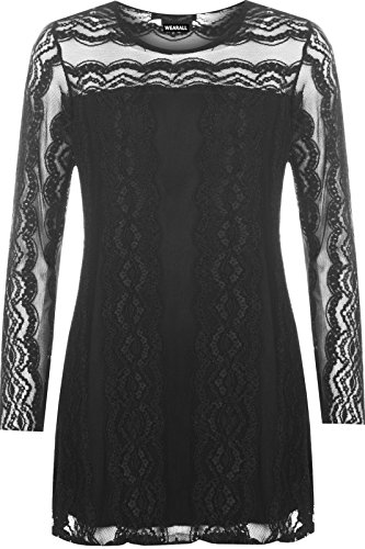 new-plus-size-womens-lace-lined-tunic-stretc-long-sleeve-round-neck-ladies-top-22-24-black
