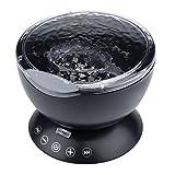 Fulltime E-Gadget Ocean Wave-Projektor, 12LED Nachtlicht mit eingebautem Mini-Musik-Player (Schwarz)