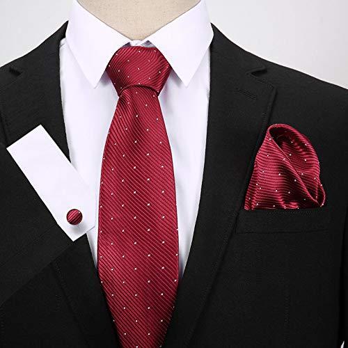 HYCZJH Grau Rosa Karierte Seide Jacquard Gewebt Männer Krawatte Rote Krawatte Manschettenknöpfe Set Klassische Krawatten Für Hochzeit/Büro - Rot Karierte Einstecktuch