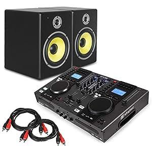 elektronik star starter control dj set studio boxen set 8 tieft ner dj controller 3 band. Black Bedroom Furniture Sets. Home Design Ideas
