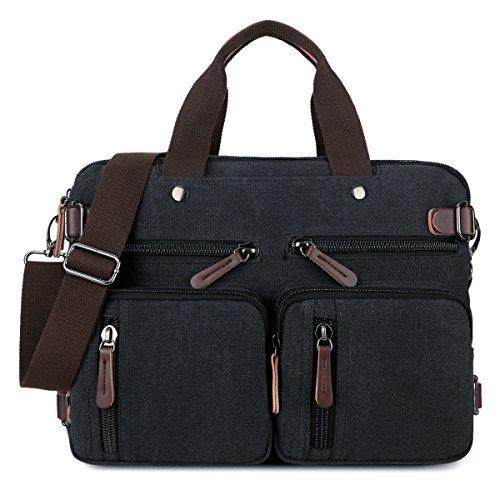 BAOSHA HB-22 Vintage Leinwand Herren Aktentasche Rucksäcke Arbeitstasche Umhängetasche Laptoptasche Schwarz (Inspiriert Vintage Handtaschen)