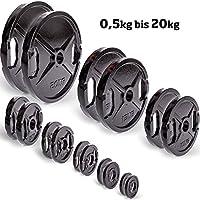Hantelscheiben Paar 50mm Gusseisen C.P. Sports Olympiascheiben, Bumper Plates, Gewichtsscheiben, Gewichte für Langhantel mit Grifflöchern 0,5, 1, 1,25, 2,5, 5, 10, 15, 20 KG