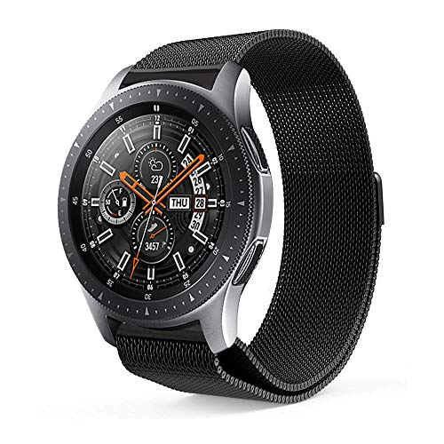 Leafboat Pulsera Compatible Samsung Galaxy Watch 46mm, 22mm Correa de Repuesto Classic Milanese Pulsera con Hombre y Mujer, Correa Adecuada Galaxy Watch 46-Black