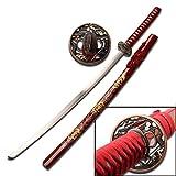 Samurai-Schwert rot mit gemalten Blumen auf der Scheide - Stahlklinge - rote Kordel -gesamt ca. 101,6 cm