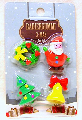 4-er Set Radiergummi, niedliche Weihnachtsmotive, mit Nikolaus