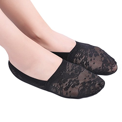 Zelta Women's Invisible Shoe Liner Anti Slip No Show Low Cut Lace Socks Casual Footies 4 Pairs