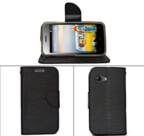 Micromax Bolt A79 A 79 Premium Leather Flip Cover Diary Folio Case Cover with Magnet Lock - Black  available at amazon for Rs.184