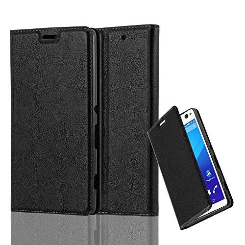 Cadorabo Hülle für Sony Xperia C4 - Hülle in Nacht SCHWARZ - Handyhülle mit Magnetverschluss, Standfunktion & Kartenfach - Case Cover Schutzhülle Etui Tasche Book Klapp Style