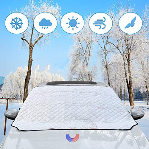 BACKTURE Protezione per Parabrezza, Auto Copertura Parabrezza con Magnete e Copertura specchietto retrovisore, Inverno Anti-Neve Impermeabile Anti-Gelo Auto Copriparabrezza (147 * 116cm)
