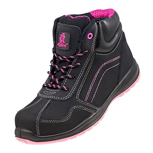 Lightweight Ladies Women Safety Boots Black Pink Hiker Ankle Size Small Sizes!...