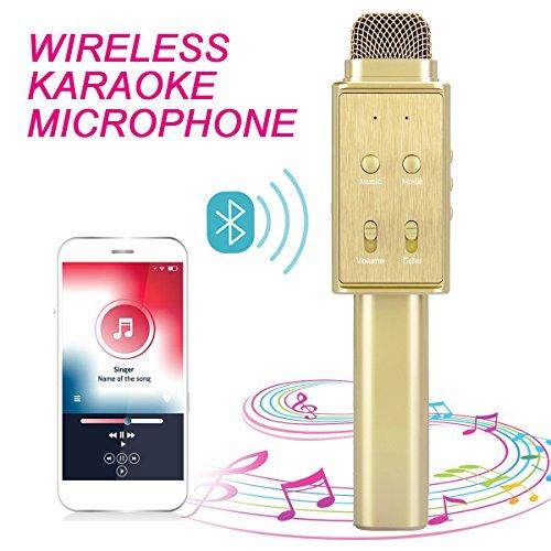 Karaoke Mikrofon Bluetooth - Maxesla Tragbares Drahtloses Mikrofon, TF Karte Musik Spielen Singen, Bluetooth Lautsprecher für Sprach und Gesangsaufnahmen, Android/IOS für Musik Spielen KTV, Party
