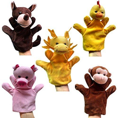 Happy Cherry - (Set de 5) Marionetas Juguetes Juegos de Manos Dedos de Animal Peluche para Bebés Niños niñas Cuentacuentos - Lobo / Gallina / Cerdo / Mono / Dragón