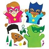 """Handpuppen-Nähsets """"Superhelden"""" für Kinder zum Basteln - Kreatives Bastelset für Kinder (4 Stück)"""