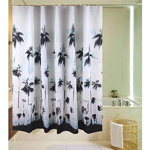 ickung-Polyester-Kokosnuss-Baum-Duschvorhang-Polyester-Stoff-Vorhänge Blaue Wasserdichte Form-dickere Duschvorhänge-Trennvorhang-Duschen-Tuch,300 * 180 cm ()