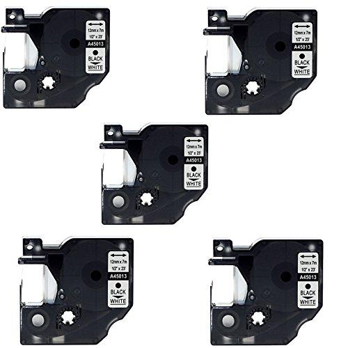 Kompatible P-touch als Ersatz für DYMO D1 45013 12mm 7m Etikettenband(Schwarz auf Weiß,5er-Pack)