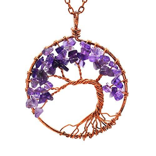 Baum des Lebens aus Naturstein handgefertigt Halskette Ornament Geburtstagsgeschenk Weihnachten Neujahr Violet 4 (Vier Weihnachts-ornament)
