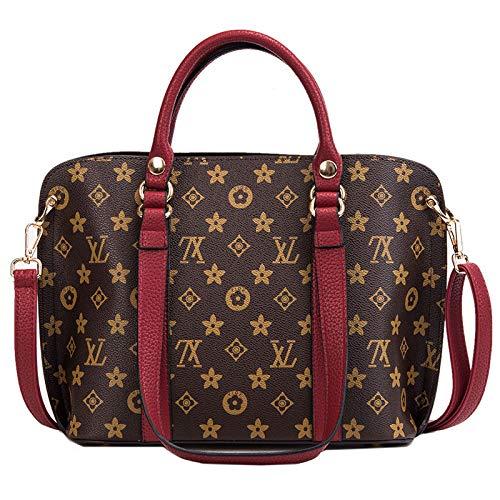 Ldyia Tasche Frau Tasche Einkaufstasche alte Blume Mode Handtasche Druck Schulter umschlungen kleine Tasche einfache Eimer Tasche, weinrot - Vuitton Handtaschen