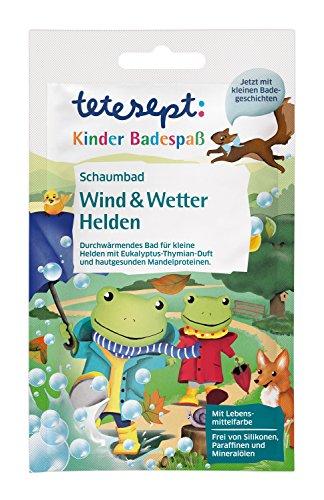 """tetesept Kinder Schaumbad\""""Wind & Wetter Helden\"""" – Pflegendes Bad bei nasskaltem Wetter - mit kleiner Badegeschichte für tollen Badespaß – 15 x 40 ml"""