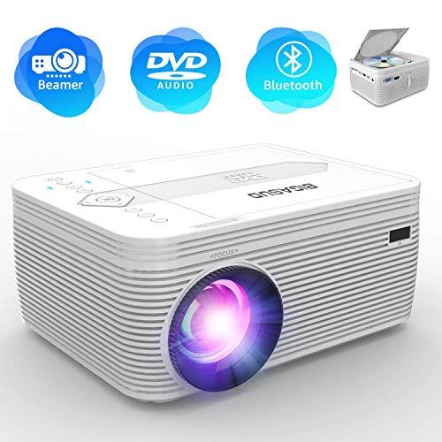 "BIGASUO Beamer, Bluetooth Beamer mit DVD Player, Tragbarer Beamer 2600Lumens mit 170 \"" Display, 1080P Full HD VideoProjektor Kompatibel mit iPhone / iPad / Laptop / TV-Box, HDMI / VGA / SD / USB / AV"