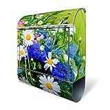 BANJADO Design Briefkasten mit Zeitungsfach, 2 Schlüssel, A4 Einwurf, silber pulverbeschichtet, mit Motiv Blumenstrauß
