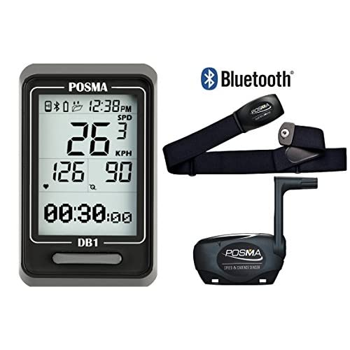 POSMA DB1 BLE4.0 Cycling Computer Speedometer Odometer, support GPS by SmartPhone Integration for iPhone and Android…