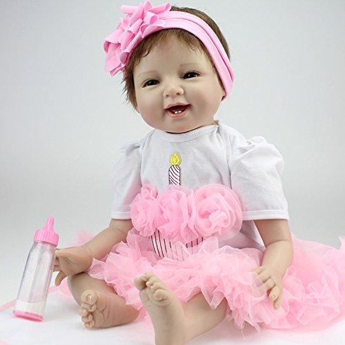Decdeal Poupée Silicone Reborn Baby Doll avec les Cheveux Enracinés Vêtements Couche Bébé Nouveau-né Poupée Boneca 22 pouces 56 cm Réaliste Fille Mignonne Cadeaux Jouet