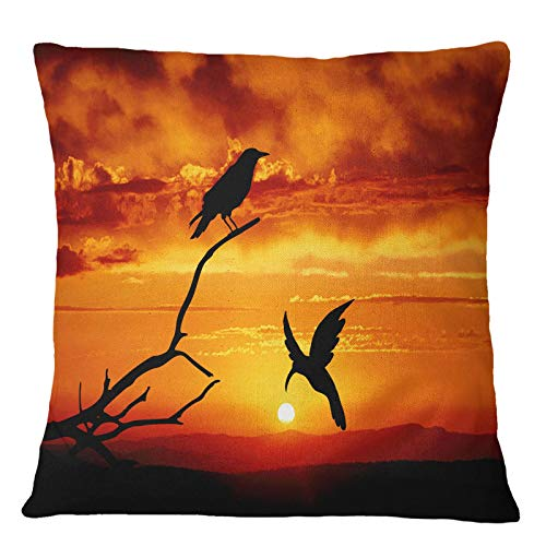 Timingila Orange Segeltuch Kissenbezug Horizont & Vogel Home Decor Kissenbezug Werfen Bedruckte Stoff Kissenbezug 1 Stck - 22 x 22 Zoll -