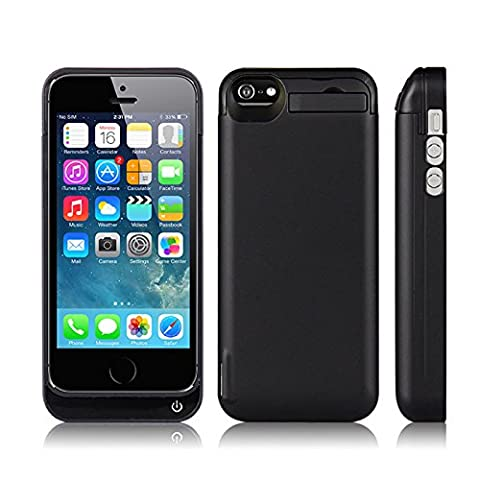 iPhone 5 5S 5C SE Akku Hülle, Moonmini® For iPhone 5 5S 5C SE 4200mAh Ultra Dünn Externe Batterie Aufladbare Schutzhülle Power Bank Backup Cover mit Integrierten Ständer (Black)