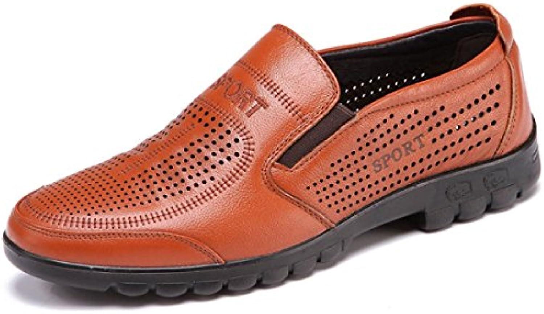 OEMPD Sommer Breathable Herrenschuhe Business Casual Echtleder Schuhe Ausgehöhlt