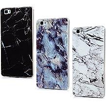 3x Funda Silicona para Huawei P8 Lite 2015/2016,Gel TPU Ultra Slim - Mavis's Diary Suave Cover Carcasa Case Bumper Shock-Absorción y Anti-Arañazos - modelo de mármol,Azul, Blanco, Negro